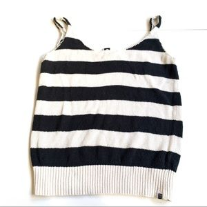 Roxy Black White striped tank medium